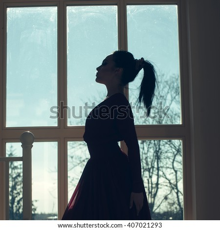 Young beautiful woman with brunette hair in elegant red dress near windows