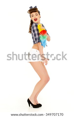 Young beautiful woman with cleaning whisk on a white background. Housekeeping. Cleaning woman. - stock photo