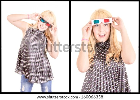 Young beautiful woman with 3d glasses - stock photo