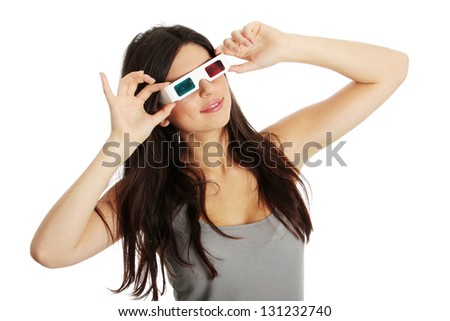 Young beautiful woman with 3d glasses, isolated on white - stock photo