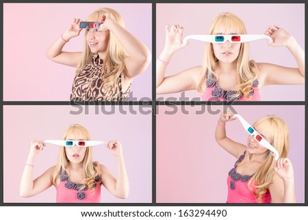 Young beautiful woman with 3d glasses, set - stock photo