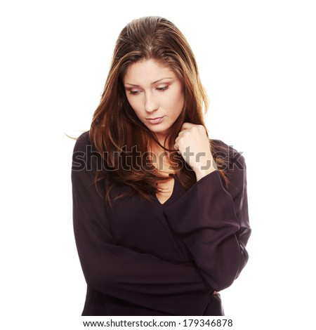 Young beautiful woman with depression, iolated