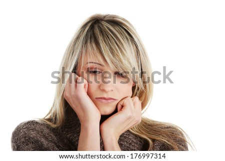 Young beautiful woman with depression isolated on white