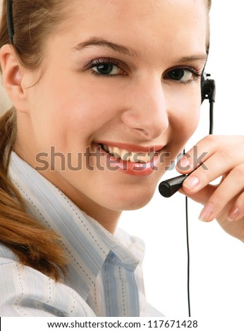Young beautiful woman with headset isolated on white background - stock photo