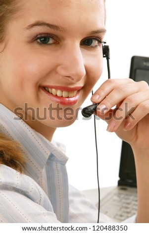 Young beautiful woman with headset isolated on white background
