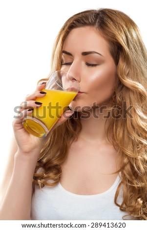 Young Beautiful Woman With Juice - stock photo