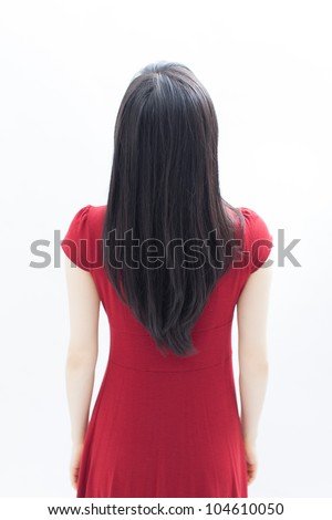 young beautiful woman with long black hair