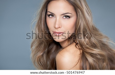 Hair highlights stock images royalty free images vectors young beautiful woman with long hair and highlights posing on blue background pmusecretfo Gallery