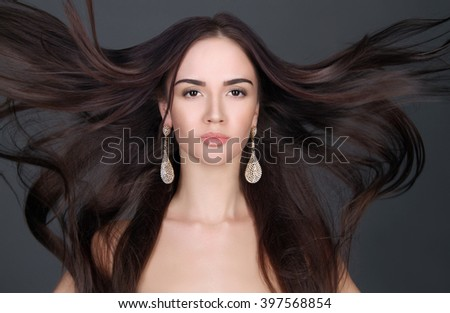 young beautiful woman with long hair.pretty girl. Beauty salon haircare - stock photo