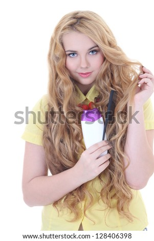 young beautiful woman with long healthy hair and shampoo over white