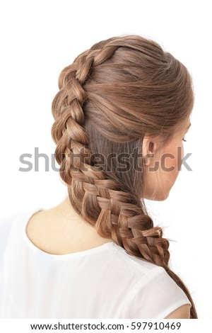 Braid Styles For White Hair Unique Young Beautiful Woman Nice Braid Hairstyle Stock Photo 597910469 .