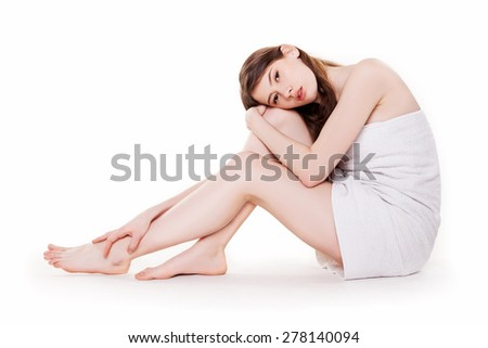 Young Beautiful Woman With Nice Legs in Spa Stock Image - stock photo