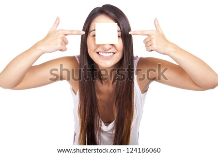 young beautiful woman with post-it stuck on forehead
