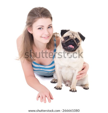 young beautiful woman with pug dog isolated on white background - stock photo