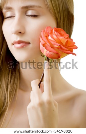 young beautiful woman with rose isolated