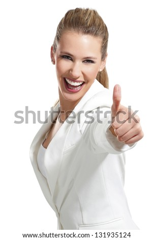 young beautiful woman with thumbs up on white background - stock photo