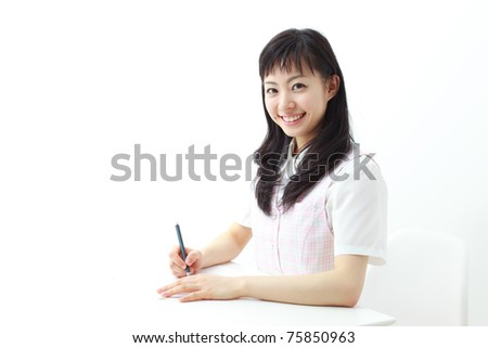 young beautiful woman working in office