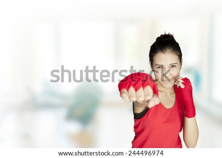 Young beautiful woman 20 - 30 year old during fitness time and exercising in gym - stock photo