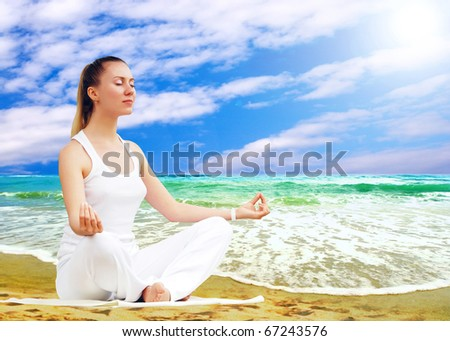 Young beautiful women in white, relaxation on the sunny tropical beach - stock photo