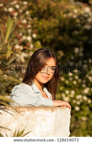 young beautiful young woman portrait on sunny day