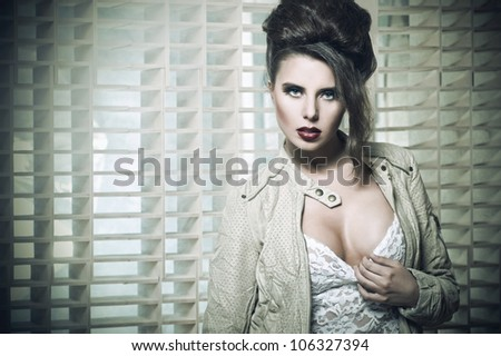 Young beauty brunette - stock photo