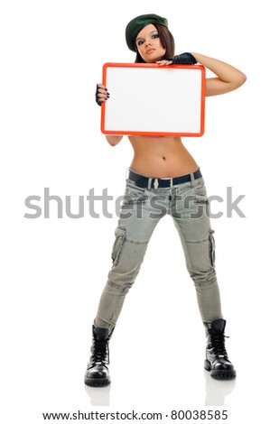 young beauty girl with board on white background - stock photo