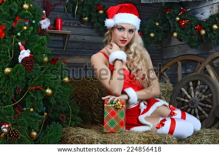Young beauty smiling santa woman near the Christmas tree - stock photo