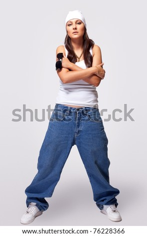 Young Beauty Tomboy Stand In Hip Hop Style Cloth