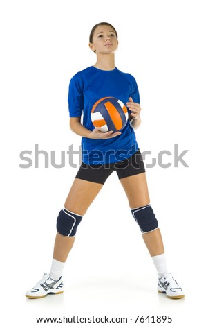 Young, beauty volleyball player. Holding ball and looking at something. Isolated on white in studio. Whole body, front view - stock photo