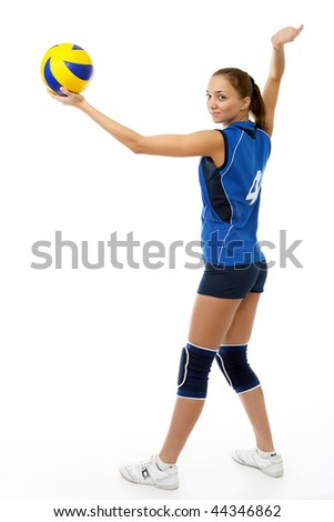 young, beauty volleyball player. Isolated on white in studio - stock photo
