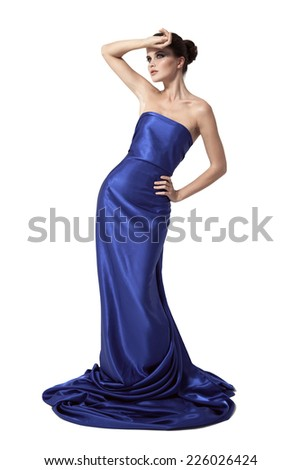 Young beauty woman in blue dress. - stock photo
