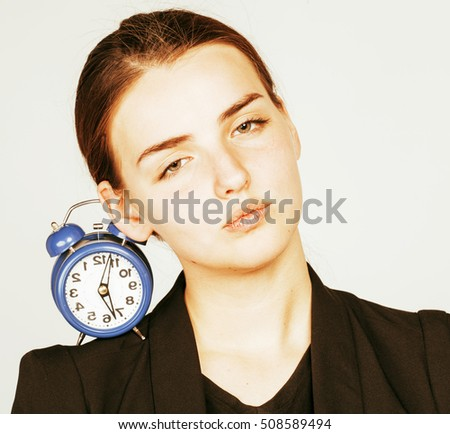 young beauty woman in business style costume waking up for work