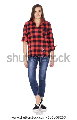 Young beauty woman in red shirt
