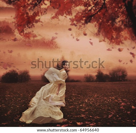 Young beauty woman over nature background - stock photo