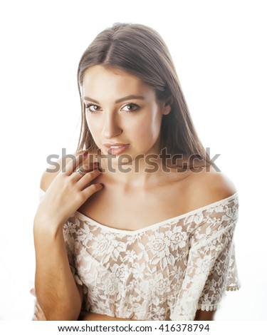 young beauty woman smiling dreaming isolated on white close up emotional adorable girl - stock photo