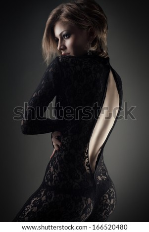 young beauty woman studio shot - stock photo