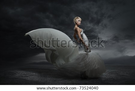 Young beauty woman wearing gorgeous dress standing over dark sky background - stock photo