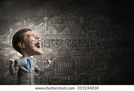 Young big headed businessman screaming with his hands up