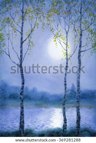 Young birch trees on bank of quiet river at mysterious gentle springtime blue gloaming. Colorful handmade romantic watercolour on paper backdrop card with space for text