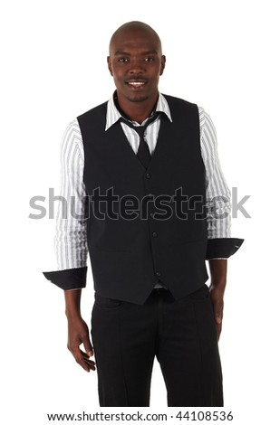 Young black African businessman in semi-formal clothes on a white background in various poses and with various facial expressions. Not Isolated, Part of a series. - stock photo