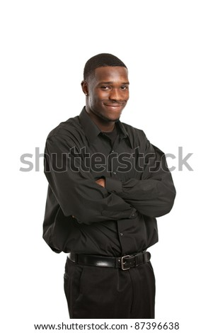 Young Black Business Man Portrait, Smiling Isolated on White Background - stock photo