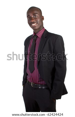 Young black businessman over white background. Isolated fresh teenager in suit. - stock photo