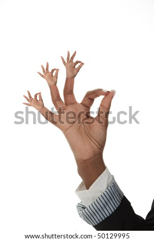 Young black female showing ok sign with hand