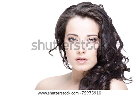 young black hair woman beauty portrait - stock photo