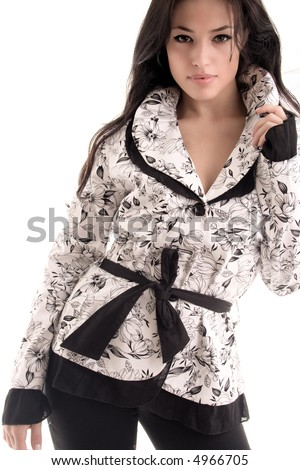 young black hair woman in fashionable clothes - stock photo