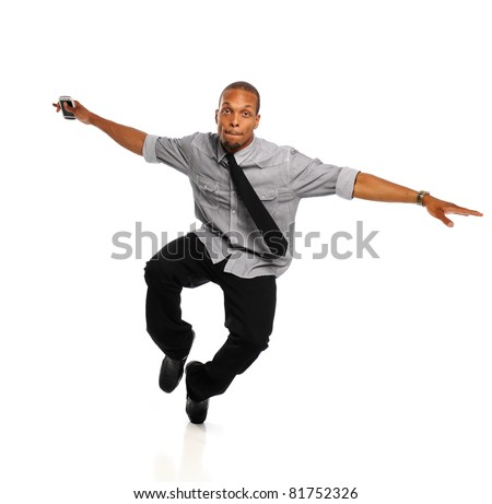 Young Black Hip Hop Dancer performing isolated on a white background