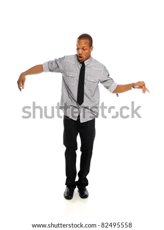Young Black Hip Hop Dancer performing isolated on a white background - stock photo
