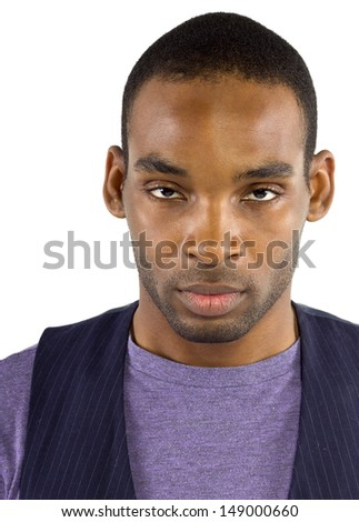 young black male isolated on a white background with negative expressions