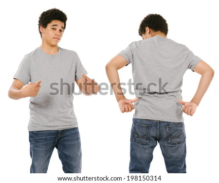 Young black male with blank grey t-shirt, front and back. Ready for your design or artwork. - stock photo