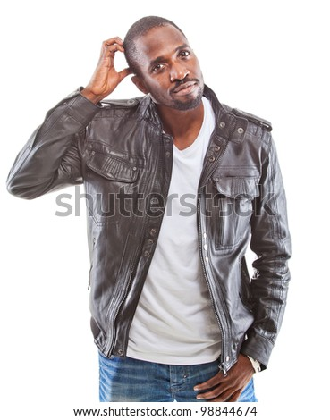 Young black man amzaed - over white background - stock photo